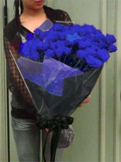 画像2: 【キラキラ☆ラメ仕様】人気の青バラ【ブルーローズ】100本キラキラ花束33000円